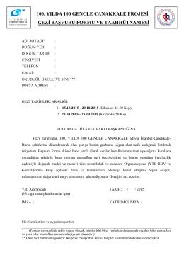 YTB – HDV Başvuru ve Sözleşme Formu