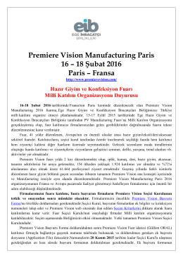Premiere Vision Manu 16 remiere Vision Manufacturing Paris 16