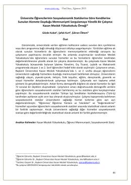 Üniversite Öğrencilerinin Sosyoekonomik Statülerine Göre - E-JOIR