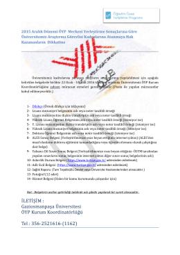 2015 Aralık Dönemi ÖYP Merkezi Yerleştirme Sonuçlarına Göre
