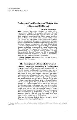 Carbognano`ya Göre Osmanlı Türkçesi Yazı ve