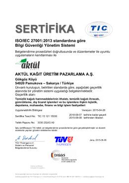ISO/IEC 27001:2013 standardına göre Bilgi Güvenliği Yönetim