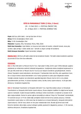 EFES & PAMUKKALE TURU (3 Gün, 2 Gece)