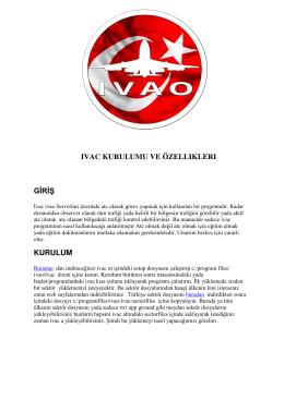 ıvac kurulumu ve özellıklerı giriş kurulum - IVAO