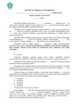 Genel Kurul Tutanağı - Necmettin Erbakan Üniversitesi