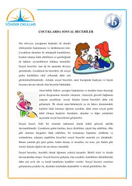 ÇOCUKLARDA SOSYAL BECERİLER