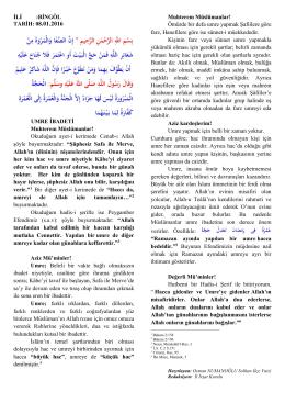 08.01.2016 UMRE İBADETİ Muhterem Müslümanlar!