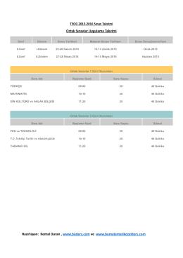 TEOG 2015-2016 Sınav Takvimi