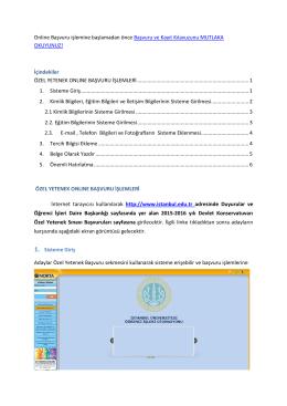 Online Başvuru işlemine başlamadan önce Başvuru ve Kayıt