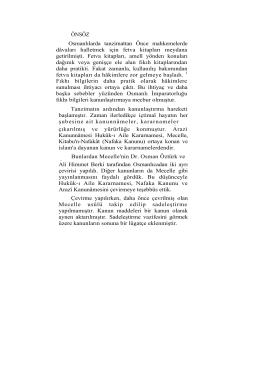 ÖNSÖZ Osmanlılarda tanzimattan Önce mahkemelerde dâvaları