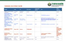 TARMAKBiR Çalışma Takvimi