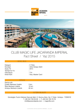 CLUB MAGIC LIFE JACARANDA IMPERIAL Fact Sheet / Yaz 2015