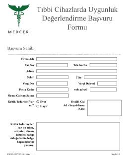 FR003 Tıbbi Cihaz Uygunluk Değ. Başvuru Formu