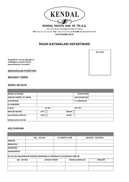 İş Başvuru formunu PDF olarak indirmek için tıklayınız.