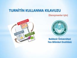 turnitin kullanma kılavuzu - Fen Bilimleri Enstitüsü