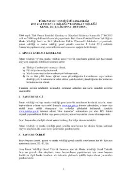 İlan Metni - Türk Patent Enstitüsü