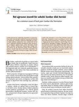 Bel ağrısının önemli bir sebebi: lomber disk hernisi