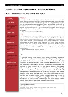 Herediter Pankreatit: Olgu Sunumu ve Literatür Güncellemesi