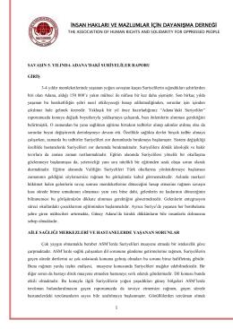 Savaşın 5. Yılında Adana`daki Suriyeliler Raporu`nı PDF Olarak