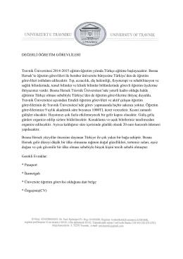 DEĞERLİ ÖĞRETİM GÖREVLİLERİ Travnik Üniversitesi 2014