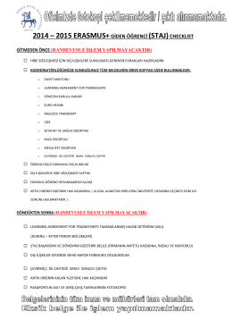 erasmus+ giden öğrenci işlemleri checklist