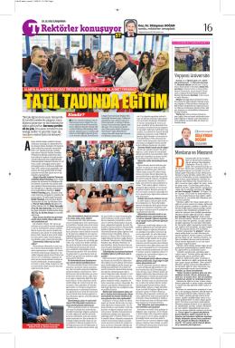 Üniversitemiz Tam Sayfa Türkiye Gazetesinde