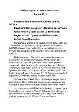 MÜSİAD Kayseri 91. Genel İdare Kurulu 25.Aralık.2015 Sn
