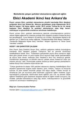 Ekici Akademi ikinci kez Ankara`da