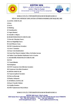 DEÜ 2015 KİK görüşme başlıkları