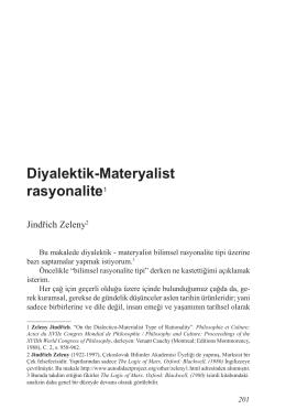 Jindřich Zeleny, Diyalektik-Materyalist rasyonalite