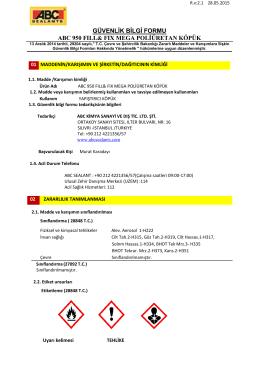güvenlik bilgi formu abc 950 fıll& fıx mega poliüretan