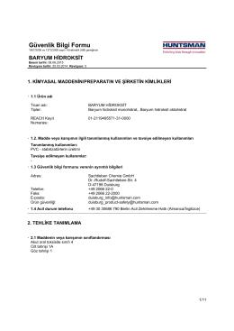 Güvenlik Bilgi Formu - Sachtleben Chemie GmbH