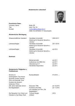 Akademischer Lebenslauf Persönliche Daten Vorname, Name Mutlu