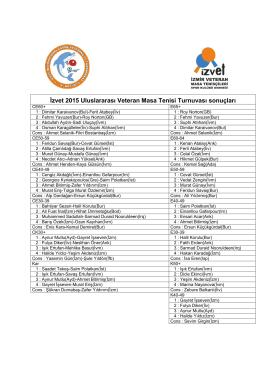 İzvet 2015 Uluslararası Veteran Masa Tenisi Turnuvası sonuçları