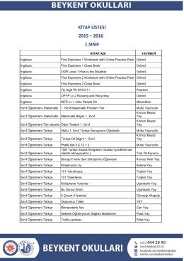 kitap listesi 2015 – 2016 1.sınıf