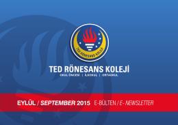 eylül / september 2015 e-bülten / e- newsletter