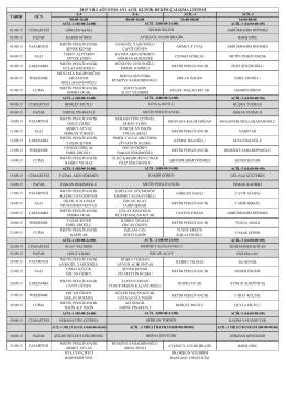 2015 yılı ağustos ayı acil klinik hekim çalışma listesi