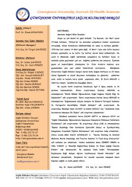 Sunuş - Gümüşhane Üniversitesi Sağlık Bilimleri Dergisi