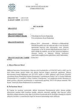Dosya No: 2015/3128 - Sınavda Eser İnceleme Aşamasında