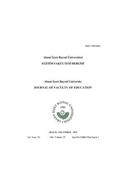 Abant İzzet Baysal Üniversitesi EĞİTİM FAKÜLTESİ DERGİSİ Abant