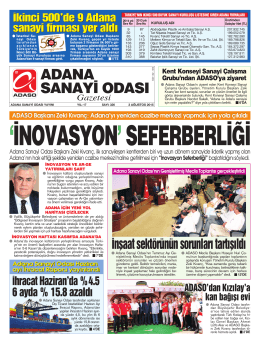 ADANA SANAY‹ ODASI Gazetesi Kent Konseyi Sanayi Çal›flma