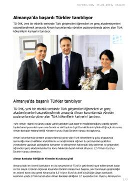 Almanya`da başarılı Türkler tanıtılıyor Almanya`da başarılı - TD-IHK