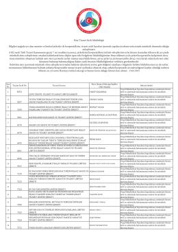 5174 Sayılı Kanunun 10. Maddesi Gereği Oda Kaydı Silinen ve
