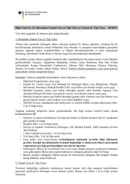 Bilgi Notu No. 19: Havaalanı Transit Vize (A Tipi Vize) ve Transit (C
