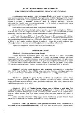 31.05.2015 Genel Kurul Toplantı Tutanağı