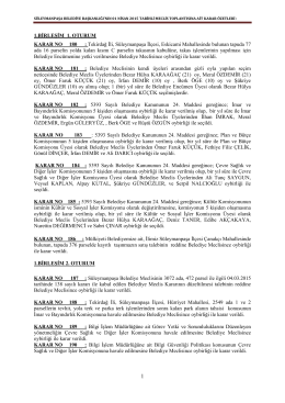 1 Nisan 2015 Tarihli Meclis Kararları