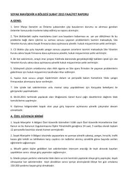 Şubat 2015 Faaliyet Raporu - SOYAK Mavişehir A Bölgesi Yönetimi