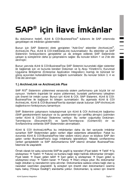 SAP Arþiv Ek Bilgi - 4Unit Systems Integration