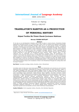 Kişisel Tarihin Bir Ürünü Olarak Çevirmen Habitusu