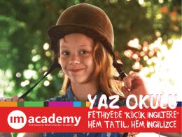 IM Academy Yaz Okulu Broşür - International Mediterranean Academy